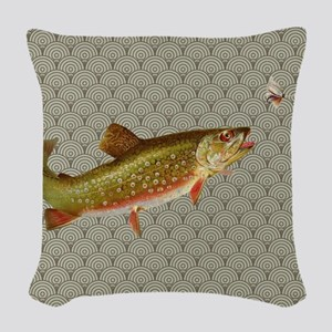 Vintage rainbow trout fly fishing Woven Throw Pill