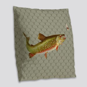 Vintage rainbow trout fly fishing Burlap Throw Pil