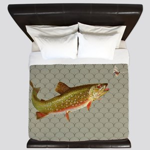 Vintage rainbow trout fly fishing King Duvet