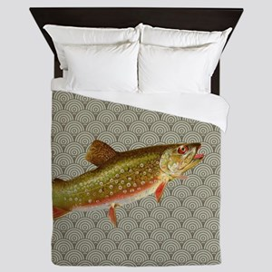 Vintage rainbow trout fly fishing Queen Duvet