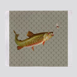 Vintage rainbow trout fly fishing Throw Blanket