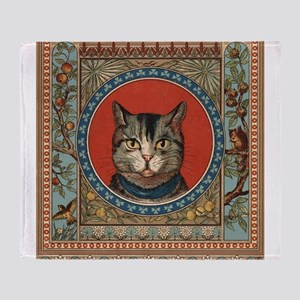 Vintage Cat colorful vintage kitty's life Throw Bl