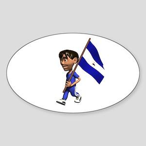 Nicaragua Boy Oval Sticker