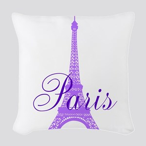 Paris Violet Woven Throw Pillow