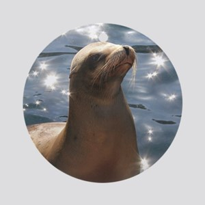 Sparkling Sea Lion Ornament (Round)