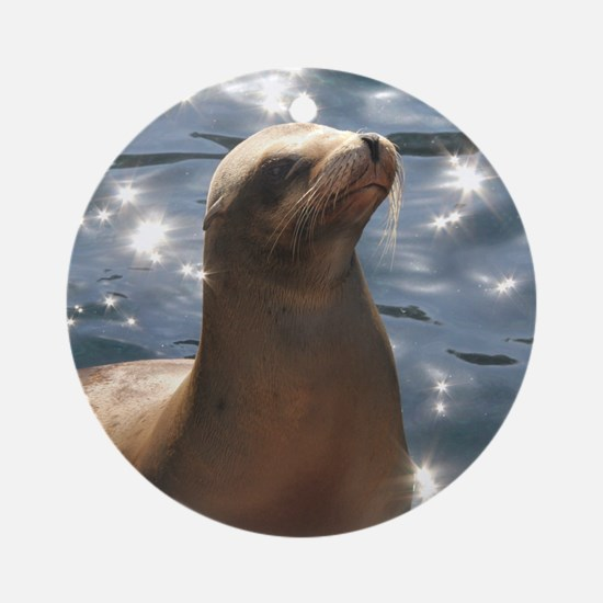 Sparkling Sea Lion Ornament (Round)
