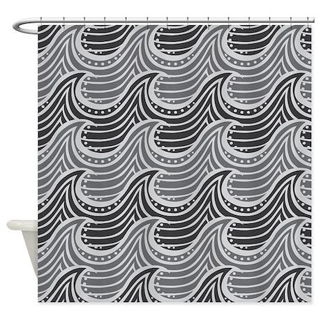 Ocean Wave Gray Art Deco Shower Curtain