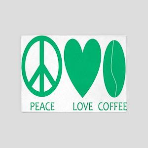 Peace Love Coffee In Green 5'x7'area Rug