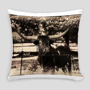 Longhorn Cattle Everyday Pillow