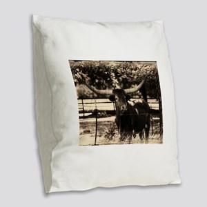Longhorn Cattle Burlap Throw Pillow