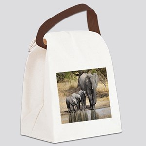 Elephant mom and babies Canvas Lunch Bag