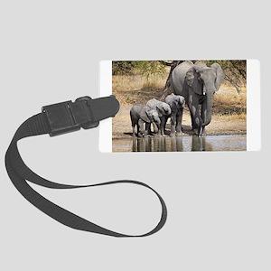 Elephant mom and babies Luggage Tag