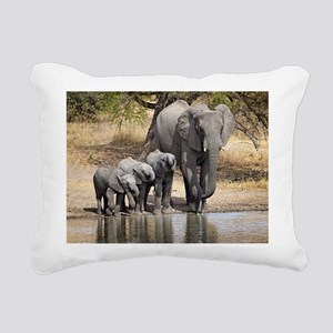 Elephant mom and babies Rectangular Canvas Pillow