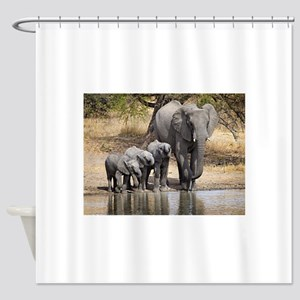 Elephant mom and babies Shower Curtain