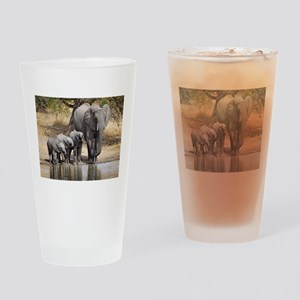 Elephant mom and babies Drinking Glass