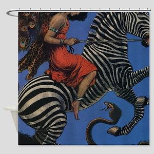 Vintage Zebra Art Nouveau Flapper Shower Curtain