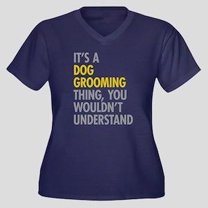 Dog Grooming Women's Plus Size V-Neck Dark T-Shirt