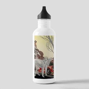 Art Deco Borzoi Walk Stainless Water Bottle 1.0L