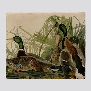 Mallard duck Audubon Bird Vintage Print Throw Blan