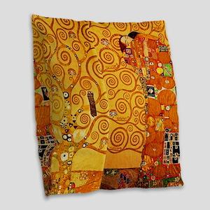 Gustav Klimt Tree of Life Art Nouveau Burlap Throw