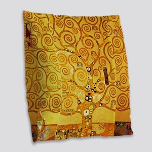 Gustav Klimt Tree of Life Art Nouveau Burlap Throw