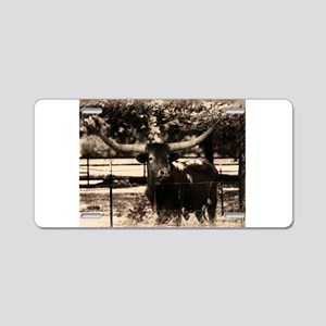 Longhorn Cattle Aluminum License Plate
