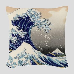 Japanese Woodcut Great Wave Mount Fuji Woven Throw