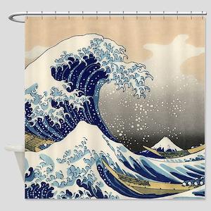 Japanese Woodcut Great Wave Mount Fuji Shower Curt