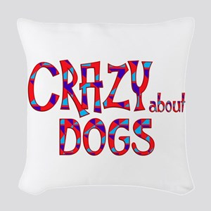 Crazy About Dogs Woven Throw Pillow