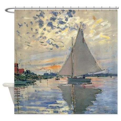 Monet Sailboat French Impressionist Shower Curtain By