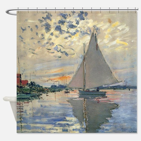 Monet Sailboat French Impressionist Shower Curtain