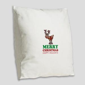 Merry Christmas reindeer Burlap Throw Pillow