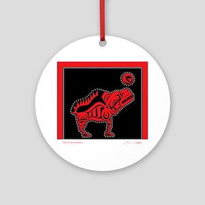Wolf & Moon Blanket Ornament (Round)