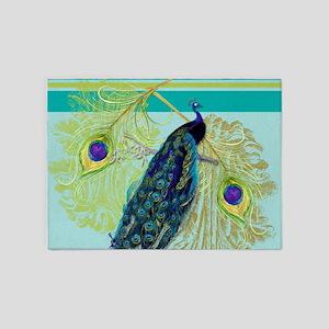 Vintage Peacock Bird Feathers Etchi 5'x7'Area Rug