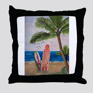 Caribbean beach with Surf Boards Throw Pillow