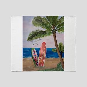 Caribbean beach with Surf Boards Throw Blanket
