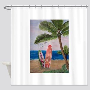 Caribbean beach with Surf Boards Shower Curtain
