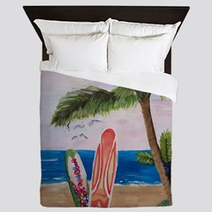 Caribbean beach with Surf Boards Queen Duvet