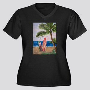Caribbean beach with Surf Boards Plus Size T-Shirt