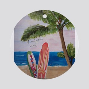 Caribbean beach with Surf Boards Ornament (Round)