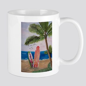 Caribbean beach with Surf Boards Mugs
