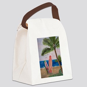 Caribbean beach with Surf Boards Canvas Lunch Bag