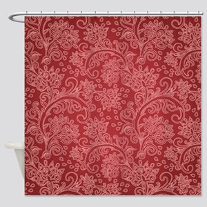 Paisley Damask Red Vintage Pattern Shower Curtain