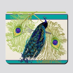 Vintage Peacock Bird Feathers Etchings E Mousepad
