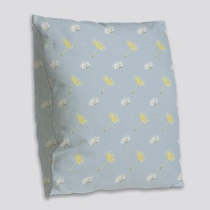 Dandelion Flowers Burlap Throw Pillow