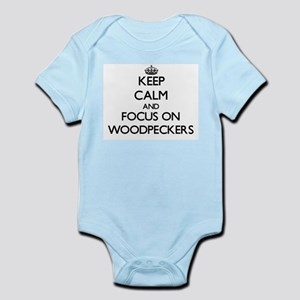 Keep Calm by focusing on Woodpeckers Body Suit