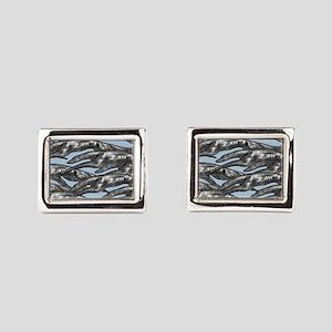 Leaping Borzoi Silver Blue Rectangular Cufflinks