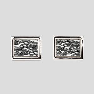 Leaping Borzoi Silver White Rectangular Cufflinks
