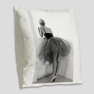 Ballerina Waiting Offstage Burlap Throw Pillow