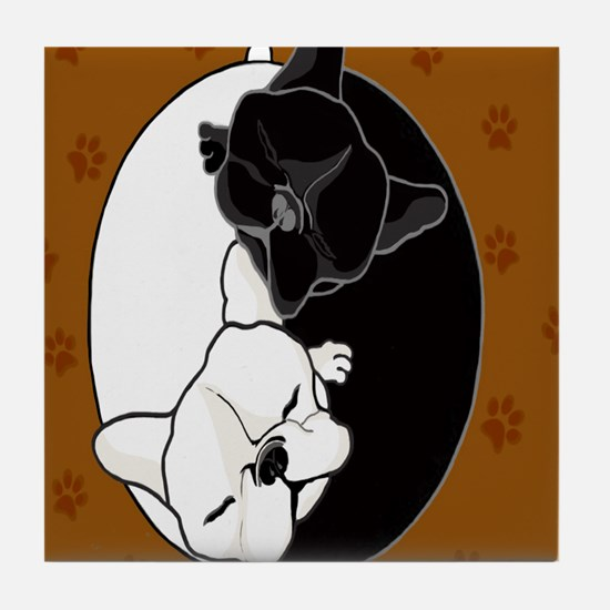 Funny Black frenchie bulldog Tile Coaster